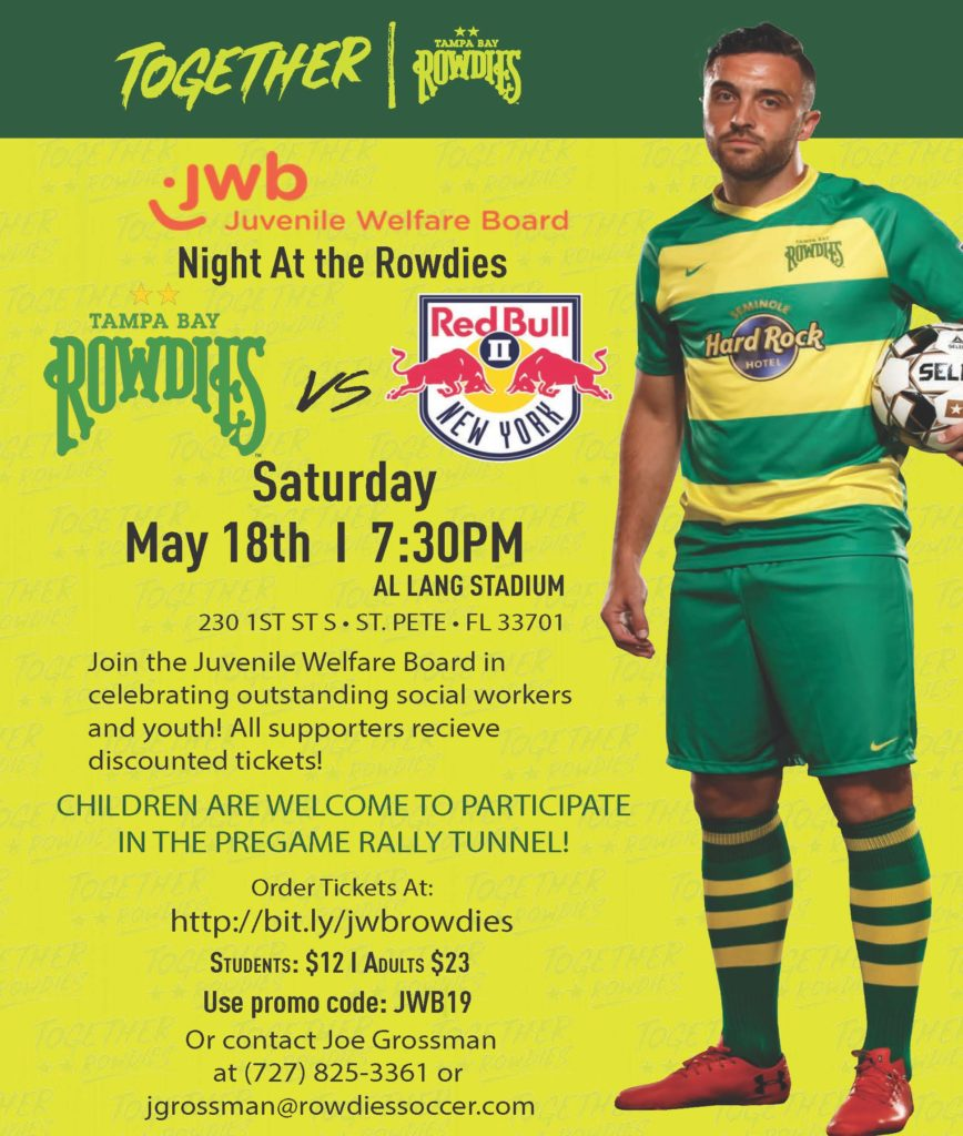 Invitation to JWB's Night at the Rowdies on May 18th at 7:30 PM