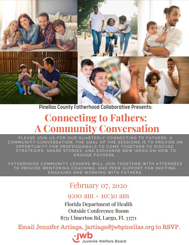 Invitation to the Connecting to Fathers event being hosted on February 7, 2020 at 9 AM at the Florida Dept. of Health