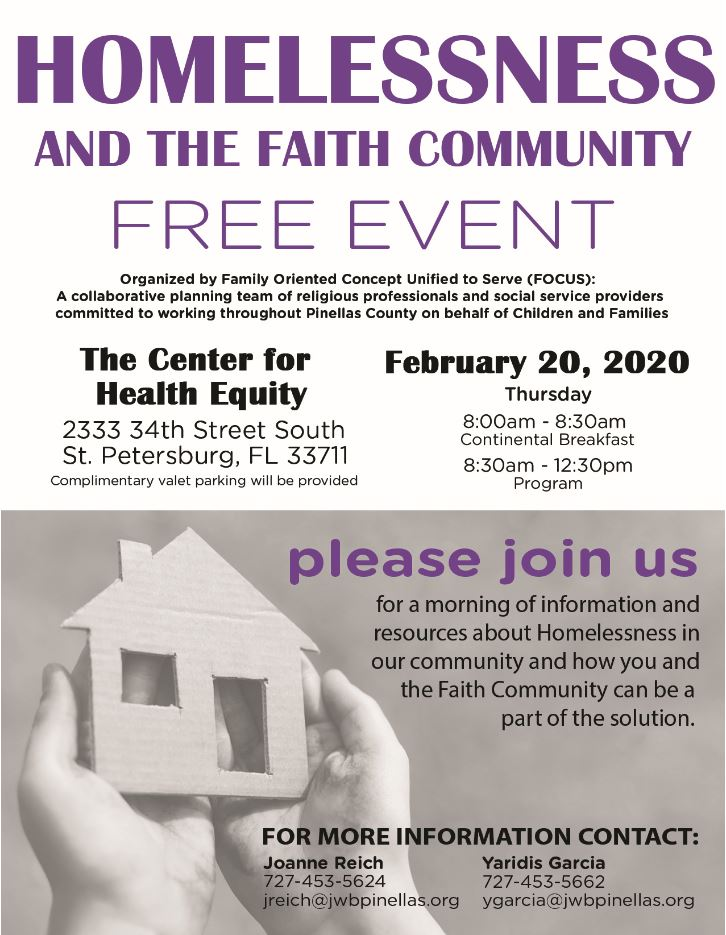 Invitation to the Homelessness and the Faith Community event being held on February 20, 2020 at 8 AM at The Center for Health Equity
