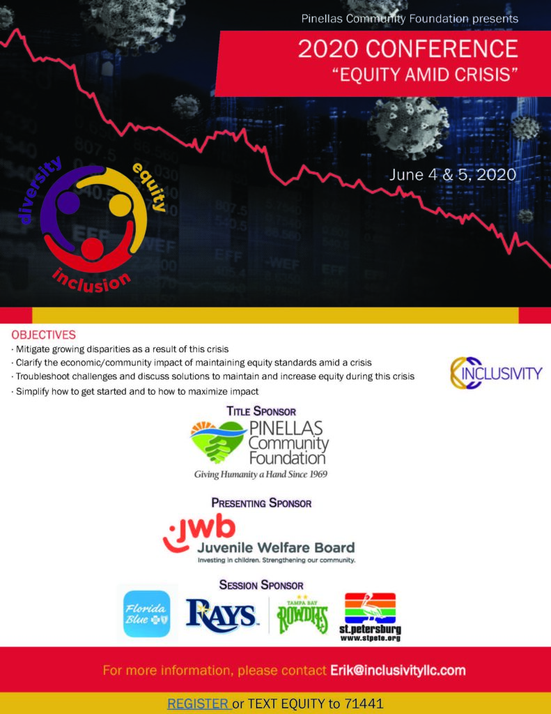 Flyer for the Equity Amid Crisis Conference that is being hosted on June 4 & 5 in a virtual conference