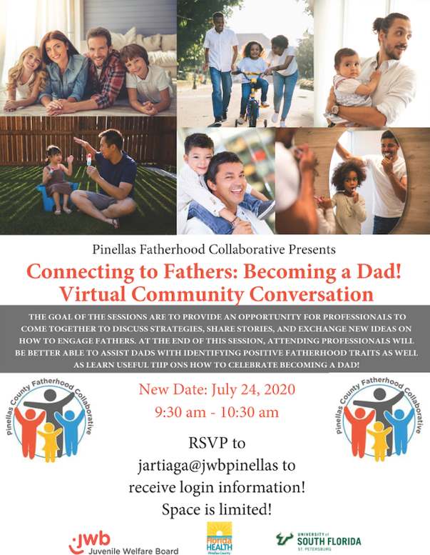 Connecting to Fathers: Becoming a Dad! Virtual Community Conversation Flyer