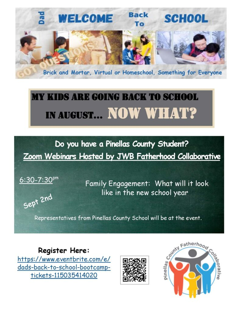 Zoom Webinars Hosted by JWB Fatherhood Collaborative on September 2nd at 6:30-7:30pm Family Engagement: What will it look like in the new school year