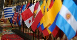 Flags of different Hispanic countries (Credit: ADL)