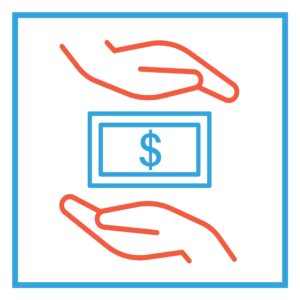 Graphic with two hands holding a dollar bill