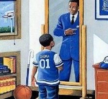 Little boy, African American, gazing into mirror and his reflection is a man he will become