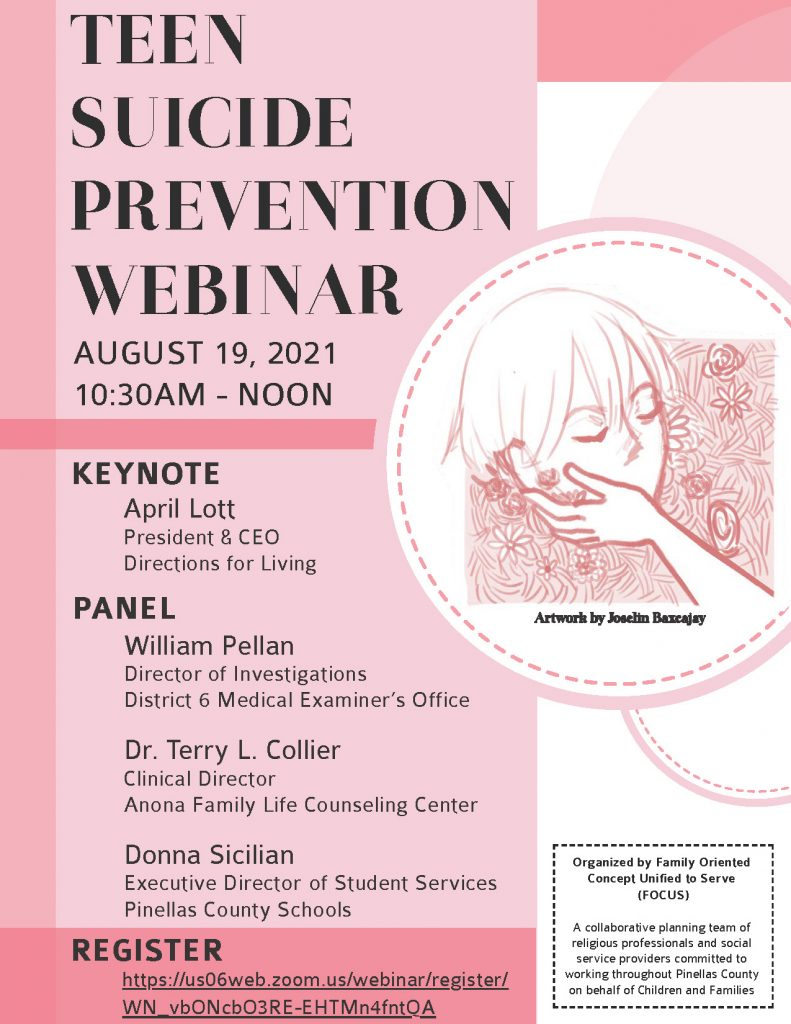 Flyer for the Teen Suicide Prevention Webinar being hosted on August 19th at 10:30 AM