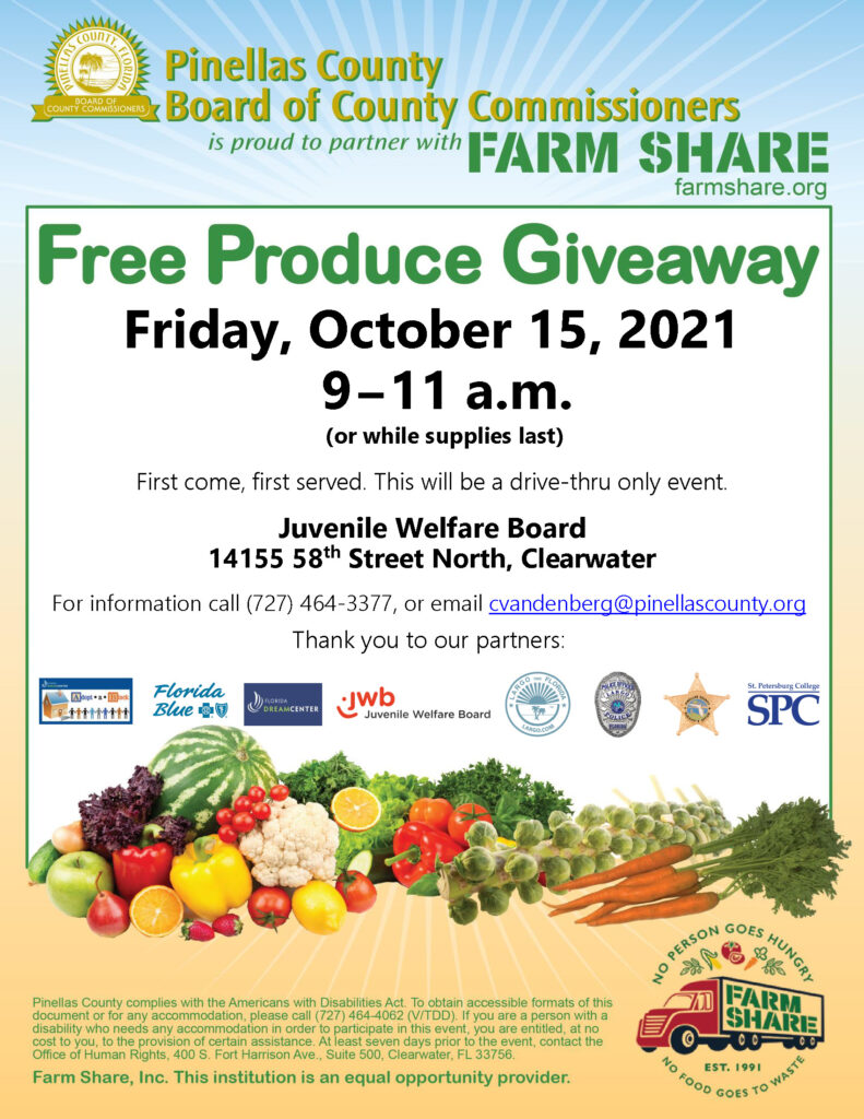 Farm Share is hosting a free produce giveaway on Friday, October 15 from 9AM to 11AM at the JWB office.